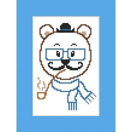 Cross stitch kit with a postcard - Card - Hipster bear boy