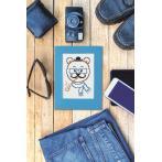 Cross stitch kit with a postcard - Card - Hipster bear boy