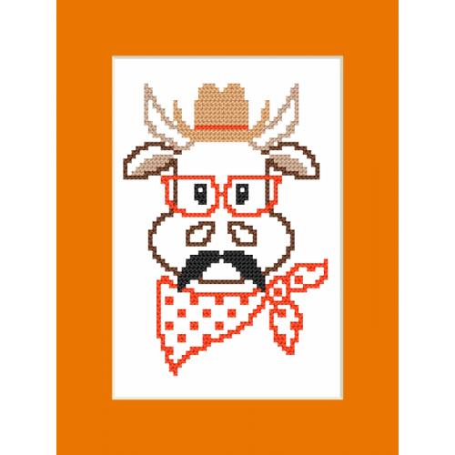 GU 8904 Cross stitch pattern - Card - Hipster cow boy