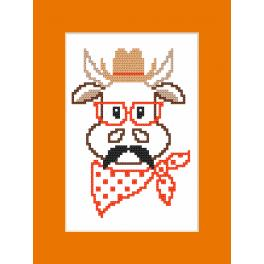 Cross stitch set with a postcard - Card - Hipster cow boy