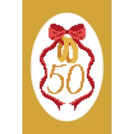 Cross Stitch pattern - Card - Golden Wedding