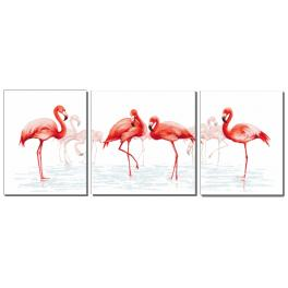 Cross stitch set with beads - Triptych with flamingos