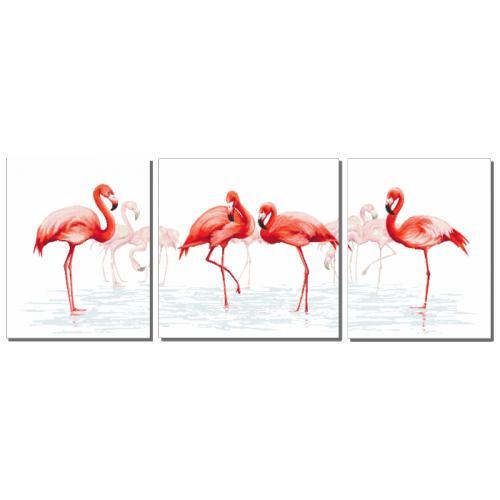 Cross Stitch pattern - Triptych with flamingos