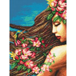 Kit with tapestry and mouline - Flowers in the hair
