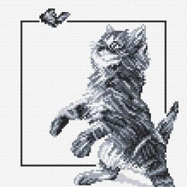 Cross stitch kit - Kitten and butterfly