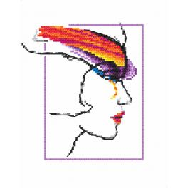 Cross stitch kit - Woman with rainbow