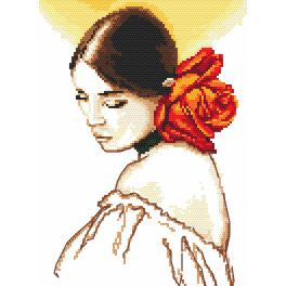 Cross stitch set - Woman with a rose