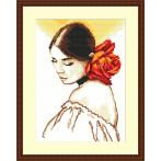 Cross stitch kit - Woman with a rose