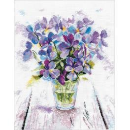 Cross stitch kit - Blue violets