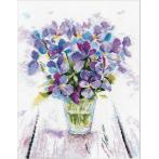 Cross stitch set - Blue violets