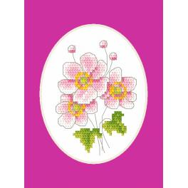 Cross stitch set with a postcard - Greeting card - Japanese anemone
