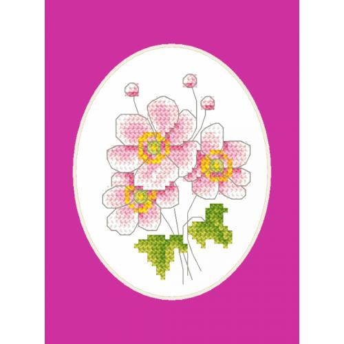 Cross stitch kit with a postcard - Japanese anemone