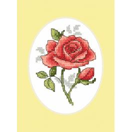 Cross stitch set with a postcard - Greeting card - Rose