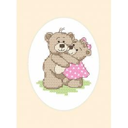 Cross Stitch pattern - Greeting card - Teddies