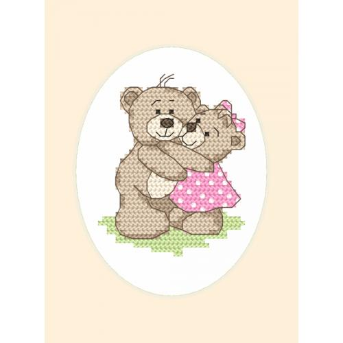 Cross stitch kit with a postcard - Greeting card - Teddies