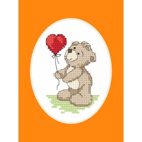 GU 8749 Cross stitch pattern - Greeting card - Teddy with a baloon
