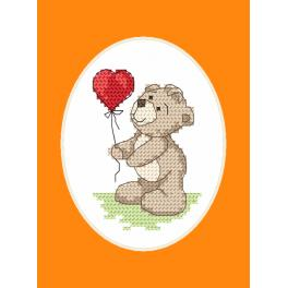 Cross stitch set with a postcard - Greeting card -Teddy with a baloon