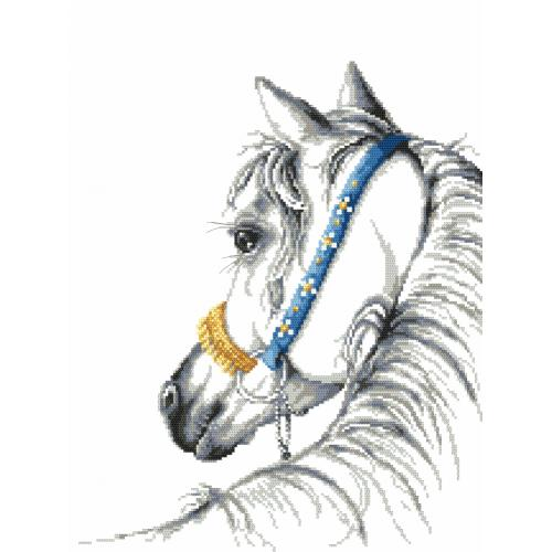Cross stitch set with beads - Arabian horse