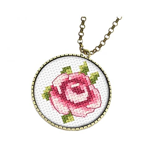 Cross stitch set with mouline and medallion - Medallion with a rose