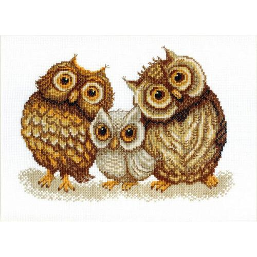 Cross stitch kit - Family of owls