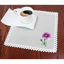 Flat stitch kit with napkin and printed pattern - Garden cosmos