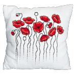 Cross Stitch pattern - Pillow with poppies