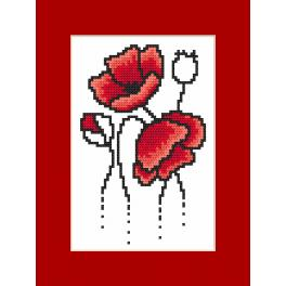 Cross stitch set with a postcard - Card - Postcard with poppies