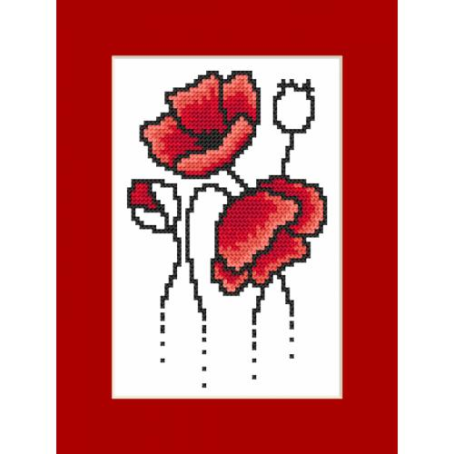 Cross stitch kit with a postcard - Postcard with poppies