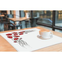 Cross Stitch pattern - Napkin with poppies