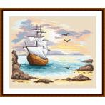 ZN 10128 Kit with tapestry and mouline - Sailin ship in an azure creek