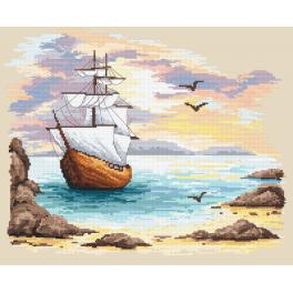 Cross stitch kit - Sailin ship in an azure creek