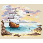 Cross stitch set - Sailin ship in an azure creek
