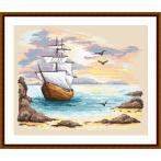 Cross stitch kit - Sailin ship in an azure creek