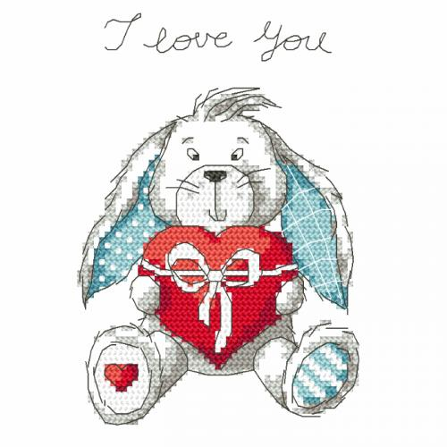 Cross stitch kit - Funny bunny - I love you