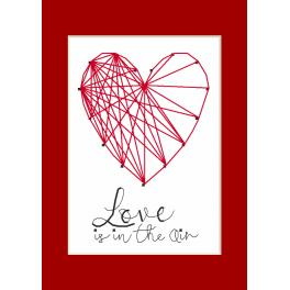 Cross stitch set with a postcard - Greeting card - Heart