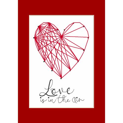 Cross stitch kit with a postcard - Greeting card - Heart