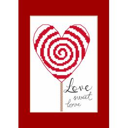 Cross stitch set with a postcard - Greeting card - Little heart