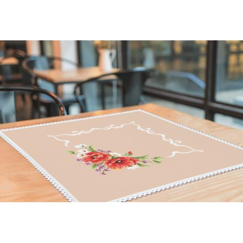 Cross stitch kit with mouline and napkin - Napkin with poppies