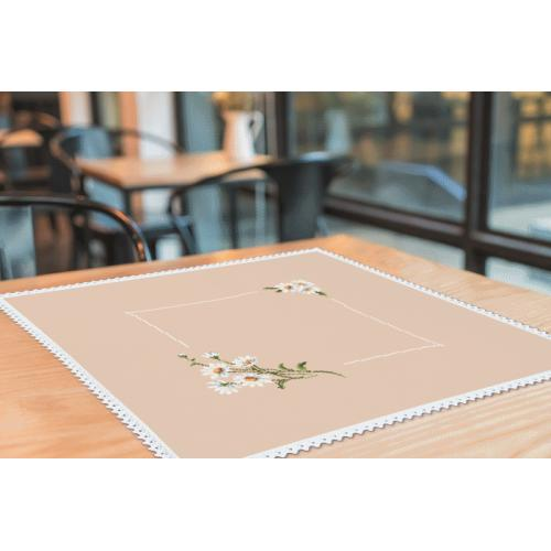 Cross stitch kit with mouline and napkin - Napkinwithdaisies