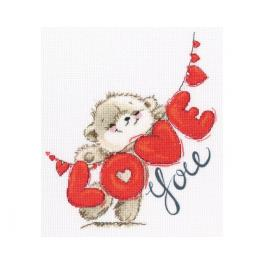 Cross stitch kit - I love you