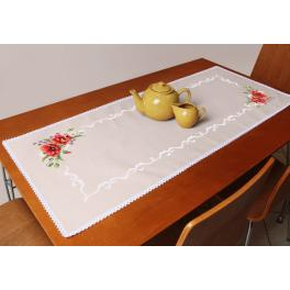 ZU 8756 Cross stitch kit with a runner - Table runner with poppies