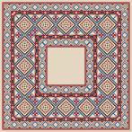 Cross stitch kit with mouline and napkin - Napkin with ethnic motif I