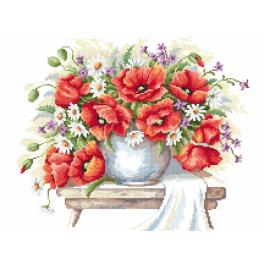 Cross Stitch pattern - Bouquet of poppies