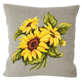 Cross stitch kit - Pillow with sunflowers linen