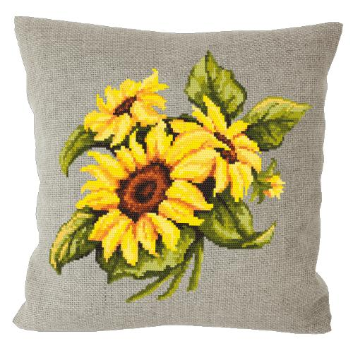 Cross stitch kit - Pillow with sunflowers linen