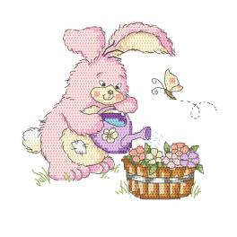 Kit with tapestry and mouline - Bunny with a watering can