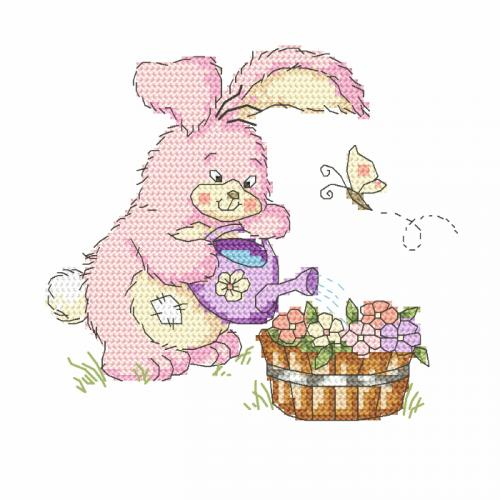 Z 8752 Cross stitch kit - Bunny with a watering can