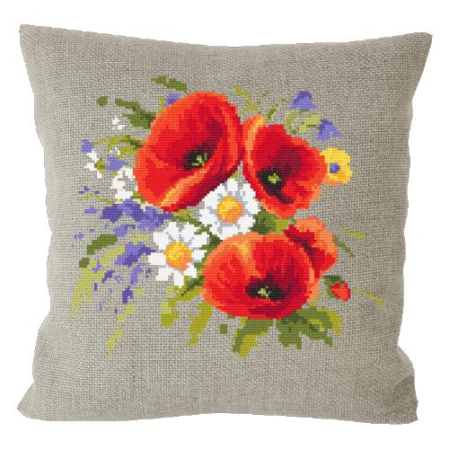 Cross stitch kit - Pillow with poppies linen