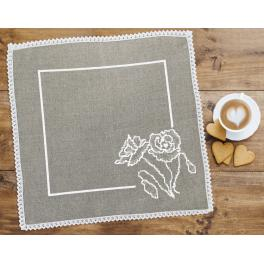 Cross stitch kit with mouline and napkin - Napkin with poppy linen