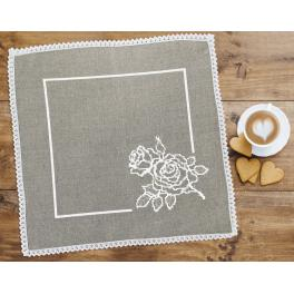 Cross stitch kit with mouline and napkin - Napkin with rose linen